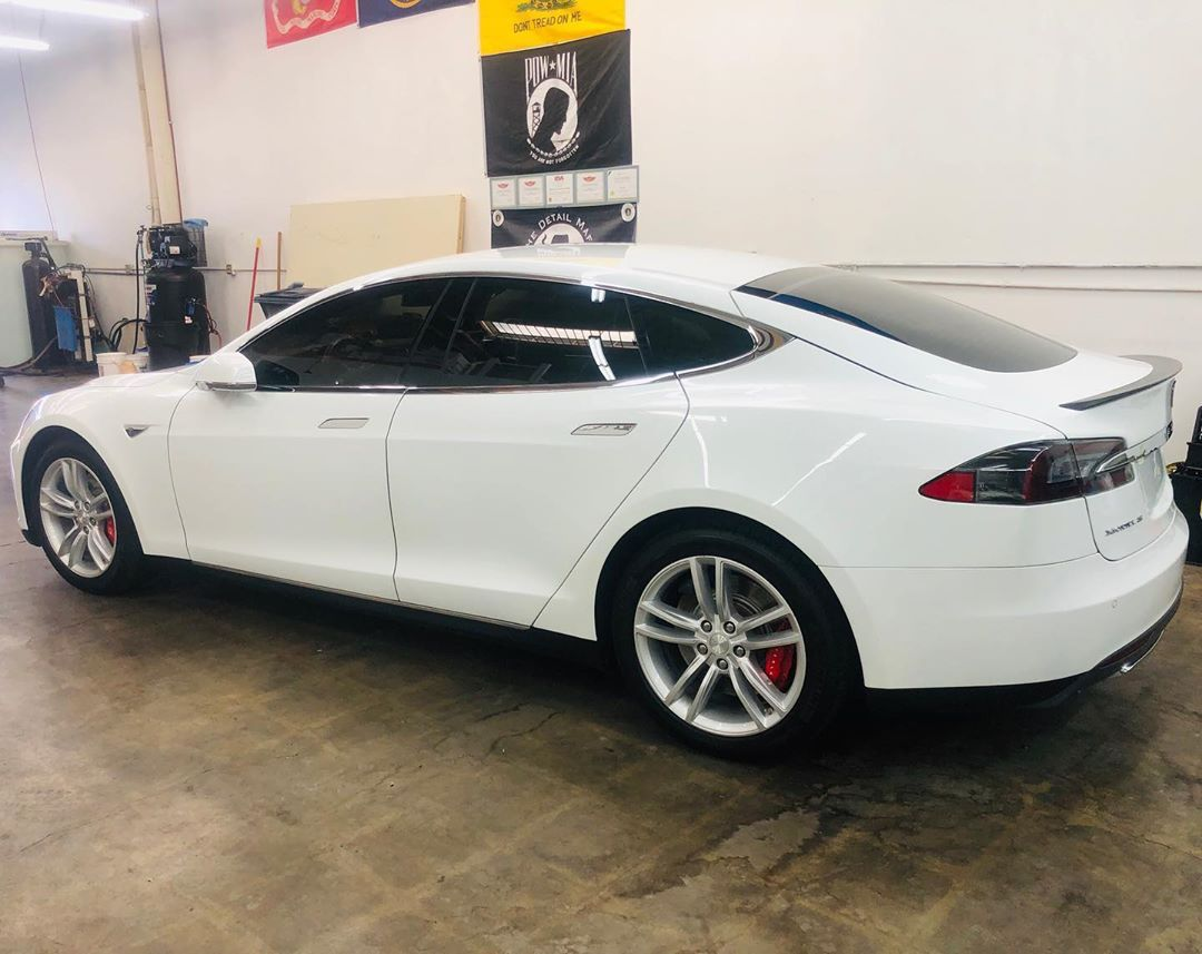ceramic pro on white tesla